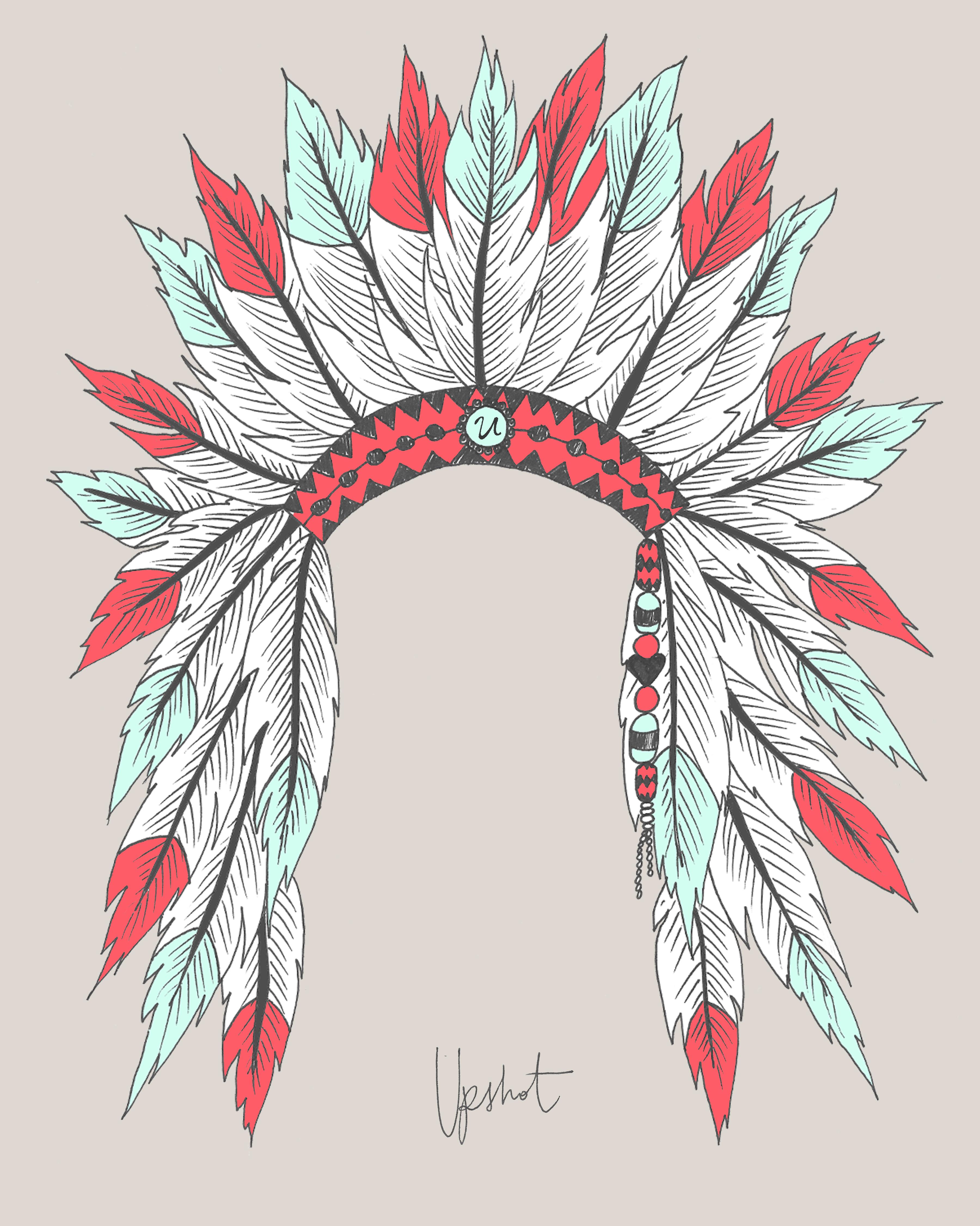 Нарисовать перо индейца